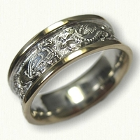 14kt Two Tone Gold Celtic Dragon & Cat Wedding Band